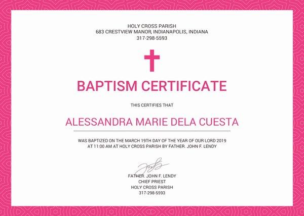 Free Edit Baptism Certificate Template Word Lovely 77 Creative Custom Certificate Design Templates