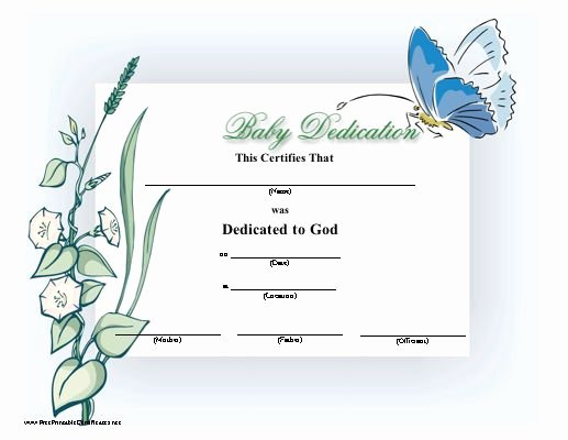 Free Editable Baby Dedication Certificates Awesome Printable Baby Dedication Certificate