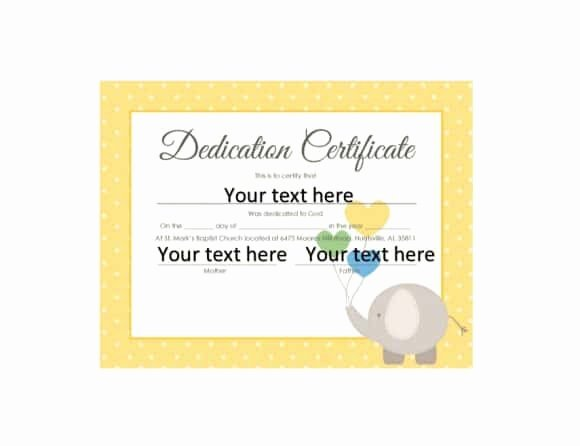 Free Editable Baby Dedication Certificates Elegant 50 Free Baby Dedication Certificate Templates Printable