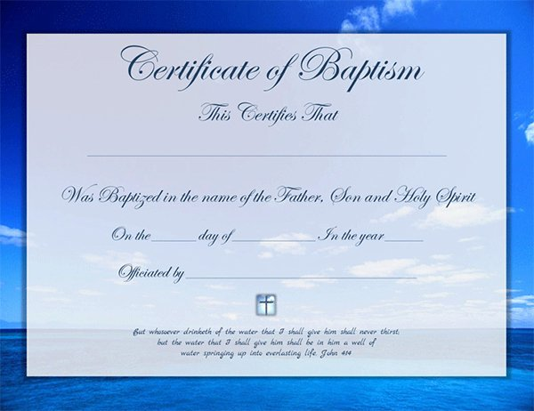 Free Editable Baptism Certificate Template Fresh Certificate Template for Baptism Template Of Baptism