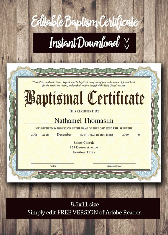 Free Editable Baptism Certificate Template Inspirational Editable Baptism Certificate Template Pdf Adobe Reader