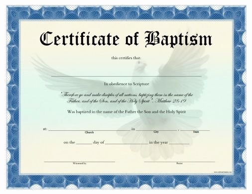 Free Editable Baptism Certificate Template Luxury Free Printable Certificate Of Baptism