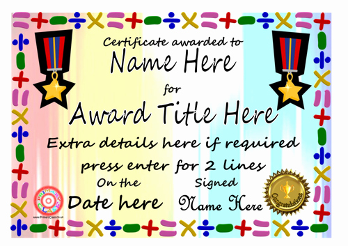 Free Editable Maths Certificates Best Of Editable Maths Certificates by Primaryclass Teaching