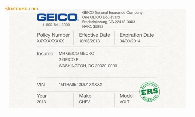 Free Fake Auto Insurance Card Template Lovely Geico Insurance Card Template Free Download Aashe