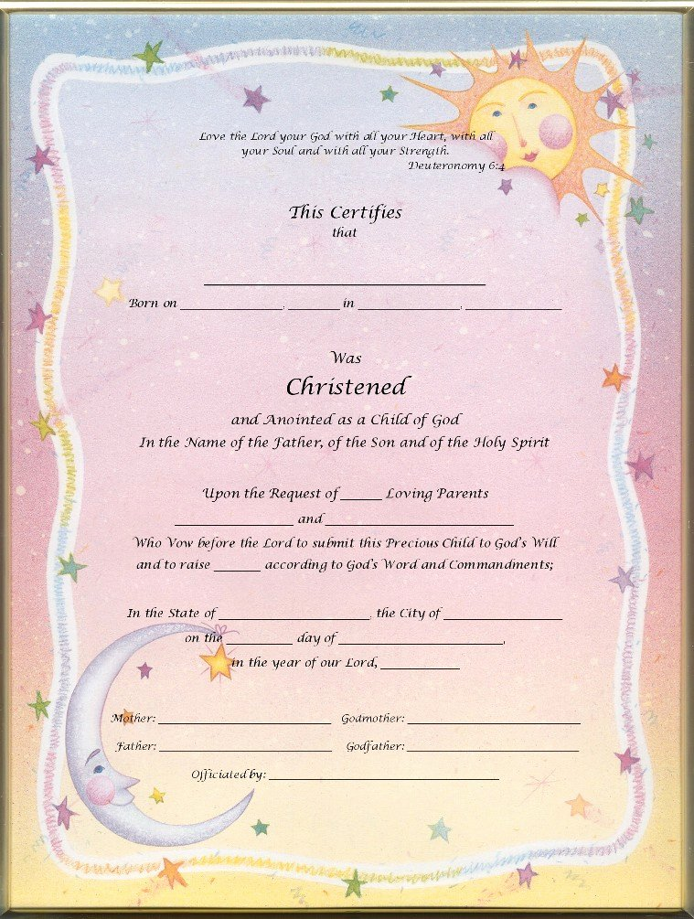 Free Fillable Baptism Certificate Awesome Keepsake Christening 8 5 X 11 Inch Certificate Heaven