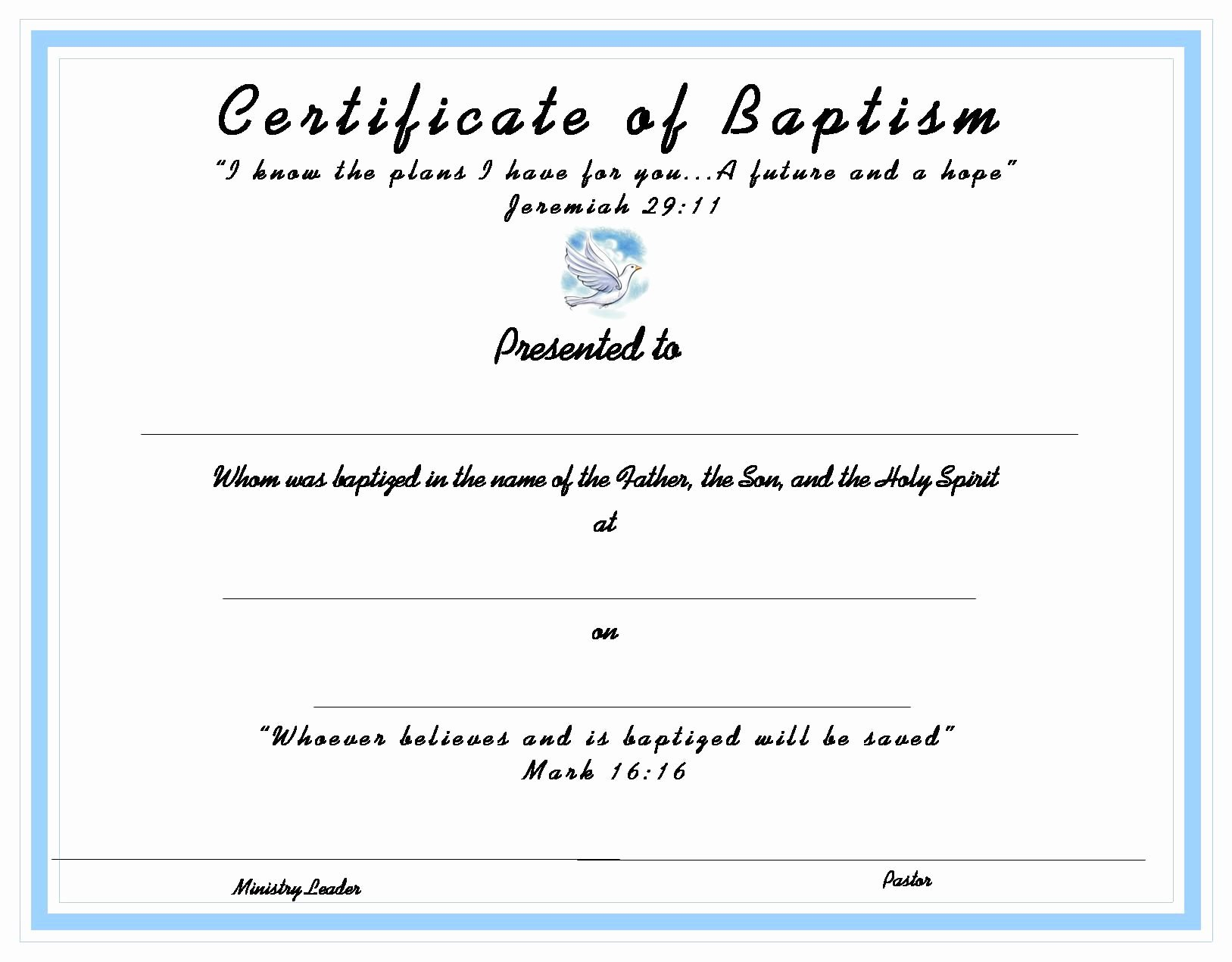 Free Fillable Baptism Certificate Fresh Baptism Certificate for Your
