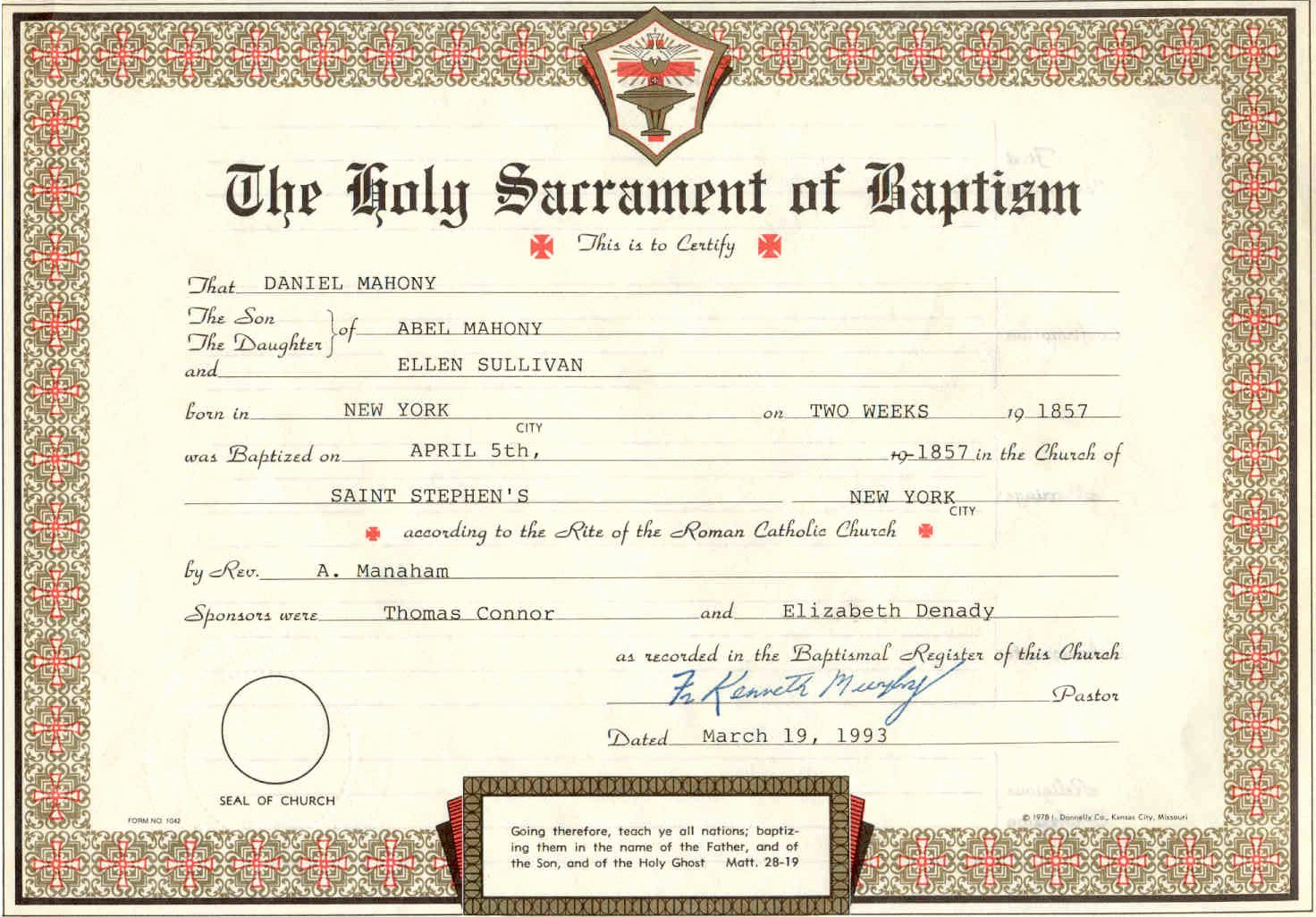 Free Fillable Baptism Certificate Lovely Printable Fillable Certificate Baptism