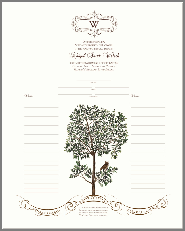 Free Fillable Baptism Certificate Luxury Owl In A Tree Baby Baptism Certificate