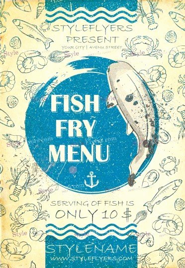 Free Fish Fry Flyer Template Lovely Fish Fry Menu Psd Flyer Template Styleflyers