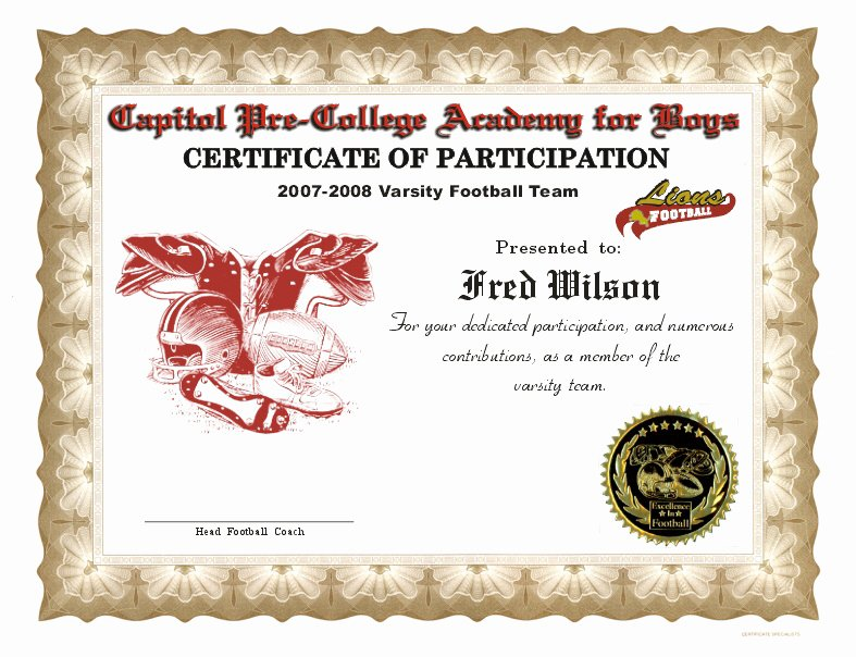 Free Football Certificate Template Awesome Football Certificates