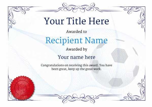 Free Football Certificate Template Beautiful Free soccer Certificate Templates Add Printable Badges
