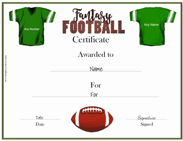 Free Football Certificate Template Luxury Free Fantasy Football Awards