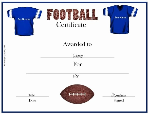 Free Football Certificate Templates Awesome Free Custom Football Certificates