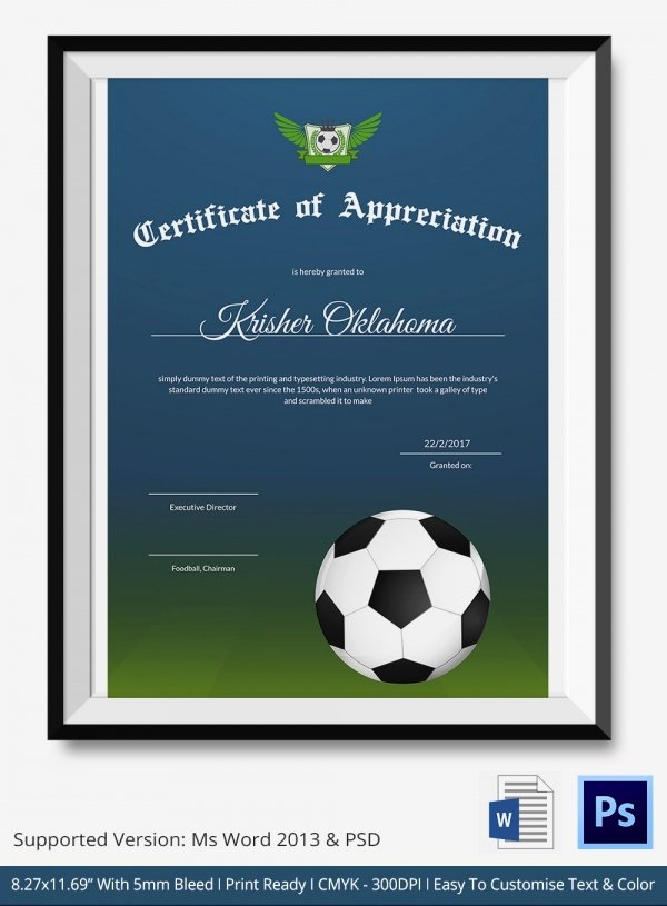 Free Football Certificate Templates Lovely 10 Football Certificate Templates Free Word Pdf