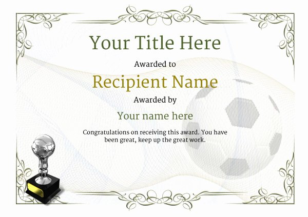 Free Football Certificates Templates Beautiful Free soccer Certificate Templates Add Printable Badges