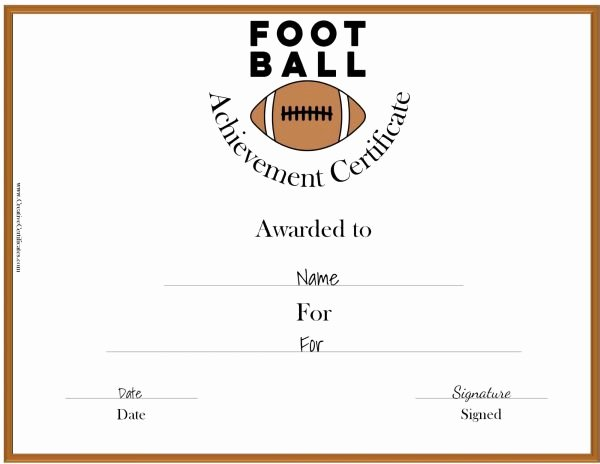 Free Football Certificates Templates Inspirational Free Custom Football Certificates