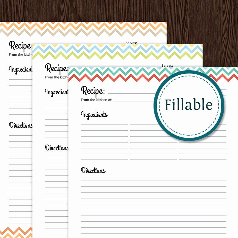 Free Full Page Recipe Templates for Word Awesome Recipe Card Full Page Colourful Chevron Fillable