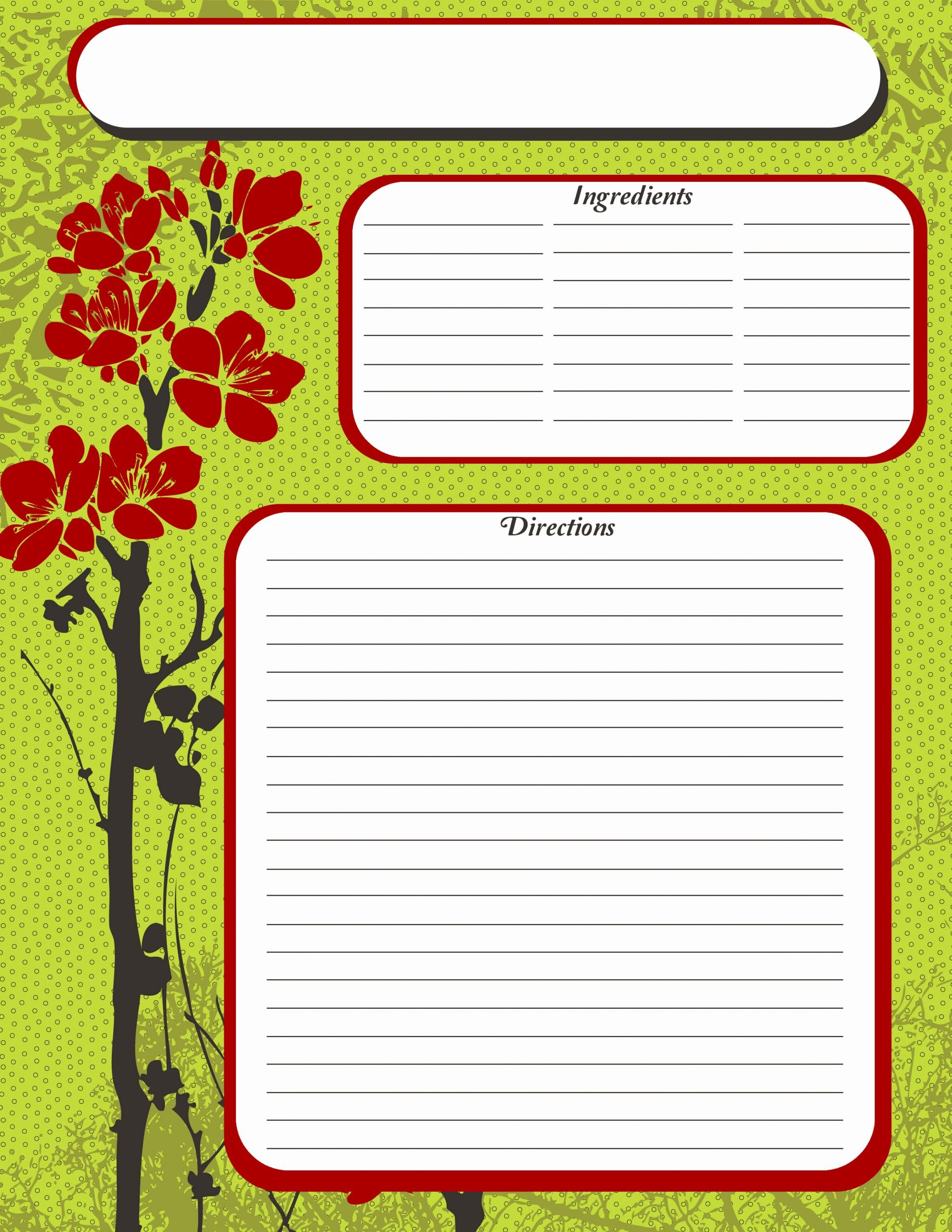 Free Full Page Recipe Templates for Word Beautiful Free Printable