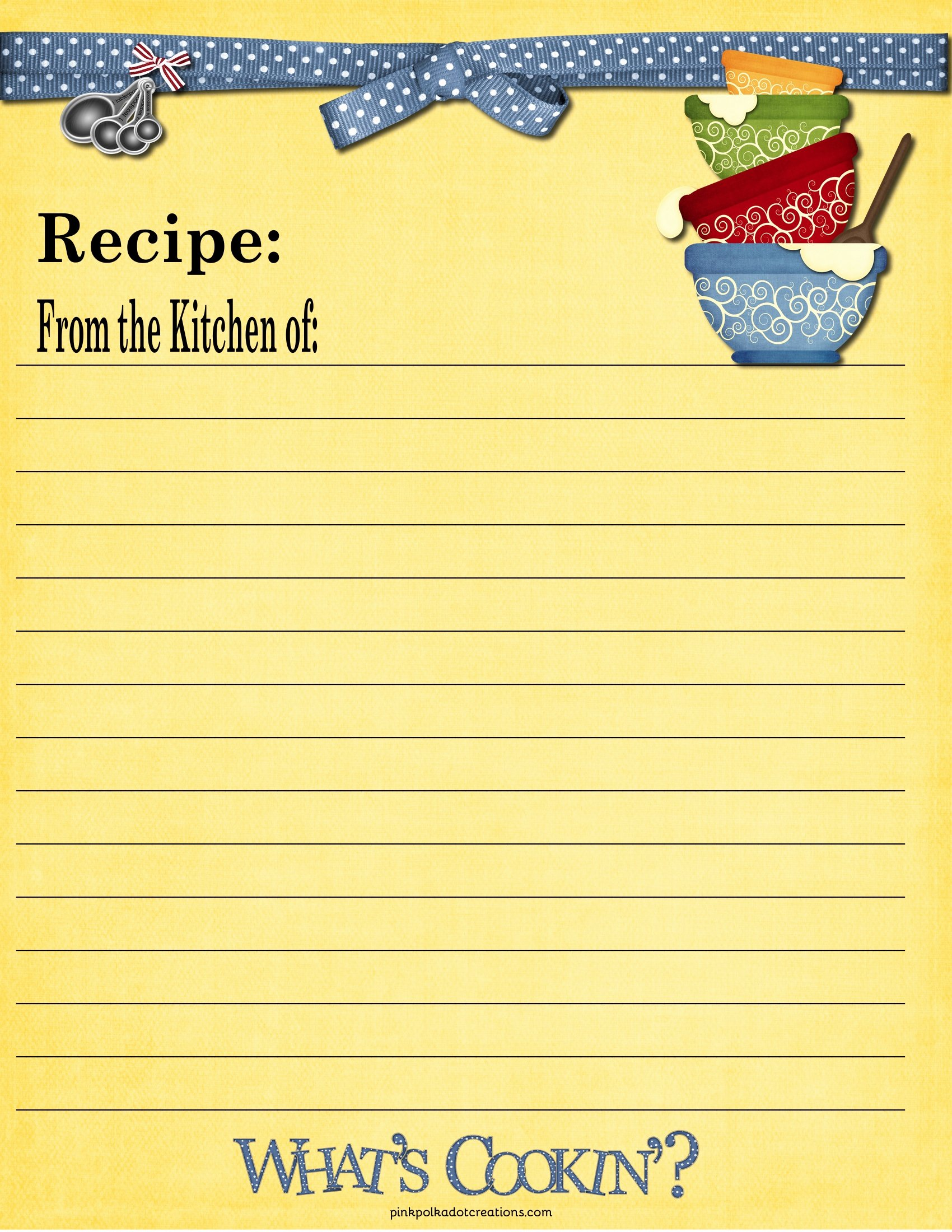 Free Full Page Recipe Templates for Word Elegant Recipe Cards Pink Polka Dot Creations