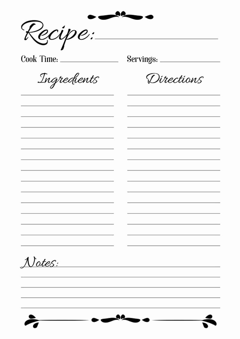 Free Full Page Recipe Templates for Word Fresh Recipe Sheet Printable Recipe Page Template Blank Recipe