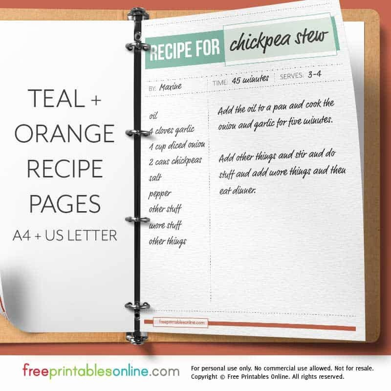 Free Full Page Recipe Templates for Word Fresh Teal orange Full Page Recipe Template