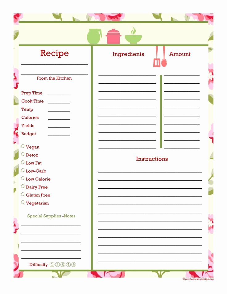 Free Full Page Recipe Templates for Word Luxury 17 Best Images About Make A Copy Blank forms On Pinterest
