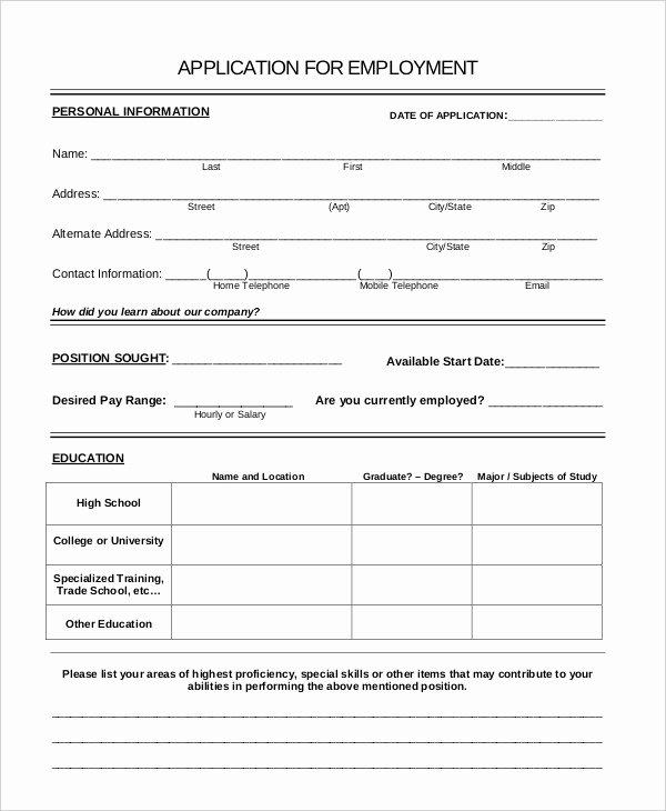Free Generic Employment Application Fresh Generic Job Application 8 Free Word Pdf Documents