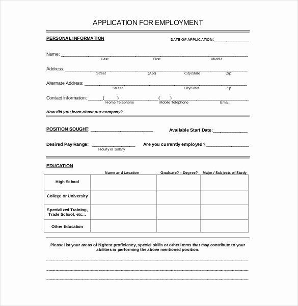 Free Generic Employment Application Inspirational 15 Employment Application Templates – Free Sample