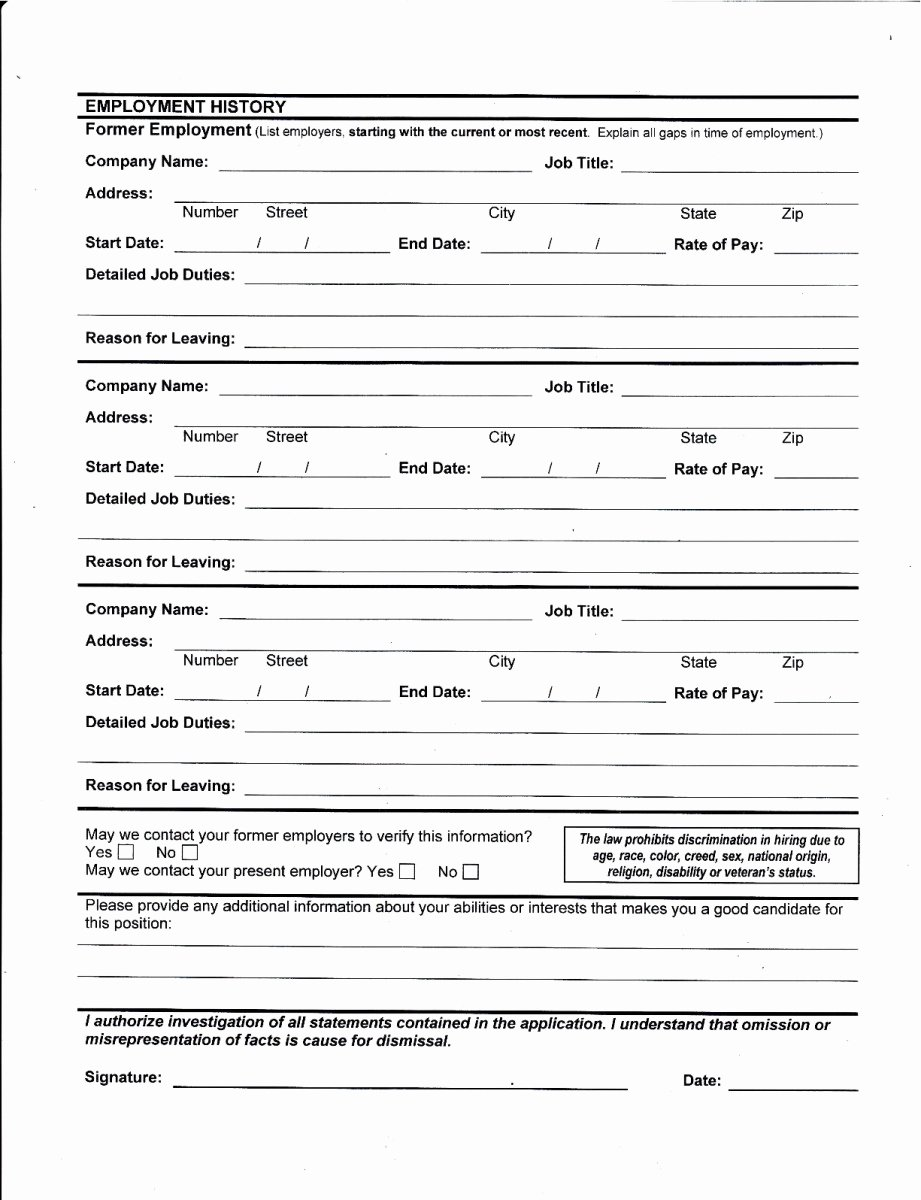 Free Generic Employment Application Inspirational Best S Of Printable Job Application for Employers