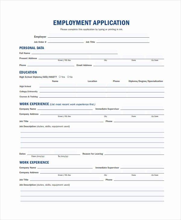 Free Generic Employment Application Luxury Generic Employment Application Template 8 Free Pdf