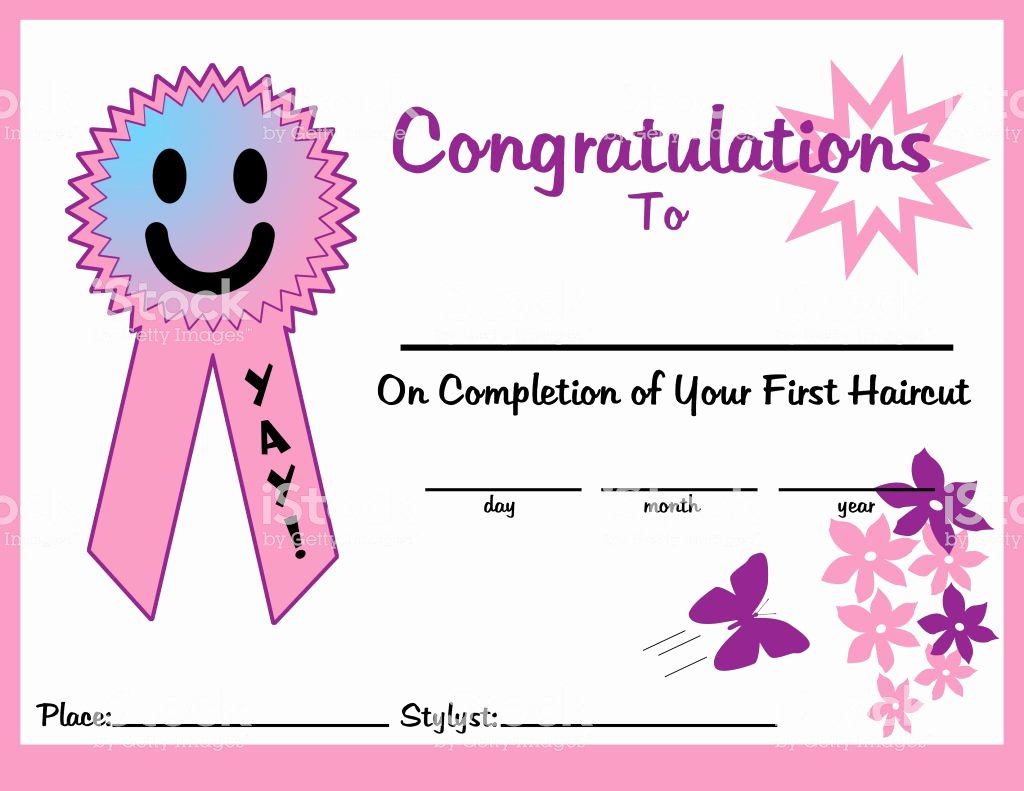 Free Haircut Certificate Template Best Of First Haircut Certificate 11 X 85 Girl for Print Stock