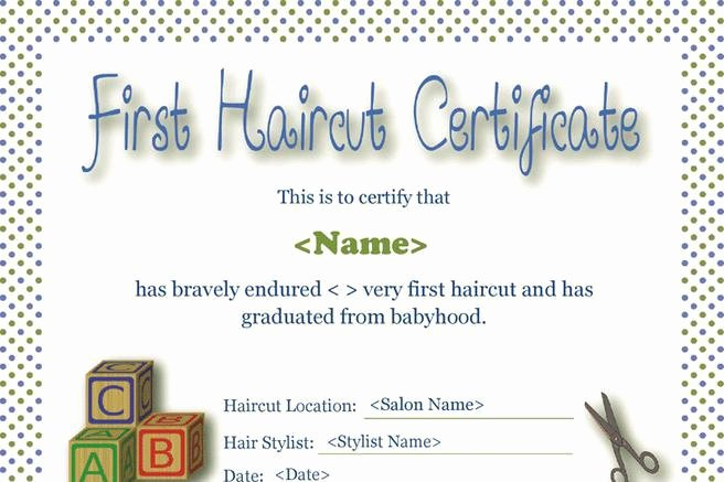 Free Haircut Certificate Template Fresh First Haircut Certificate
