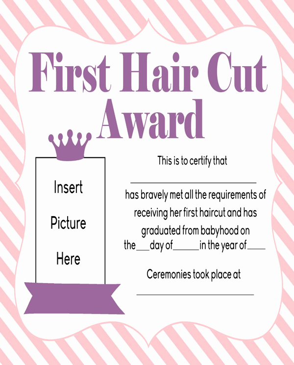 Free Haircut Certificate Template Inspirational Download Girls First Haircut Award Printable for Free