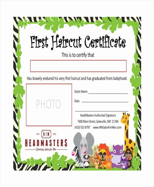 Free Haircut Certificate Template Lovely First Haircut Certificate Free Download Elsevier