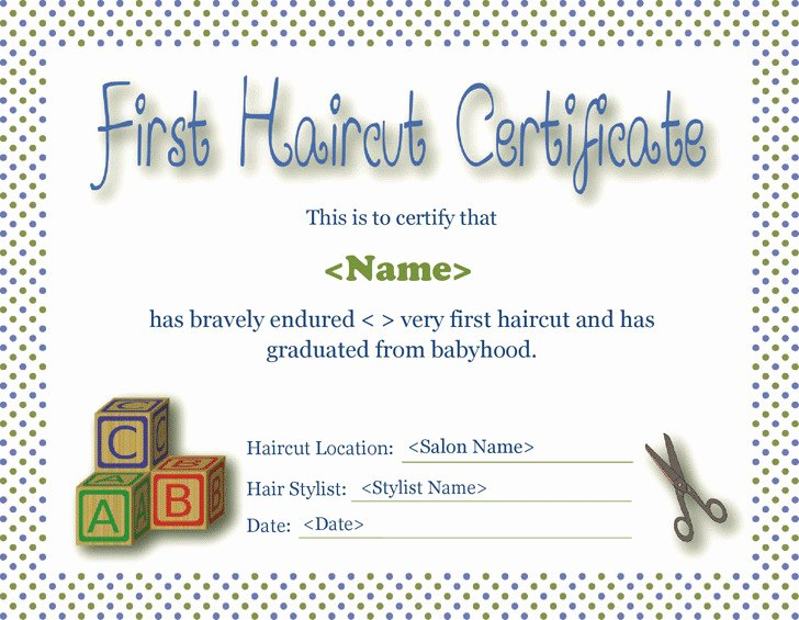 Free Haircut Certificate Template Lovely First Haircut Certificate