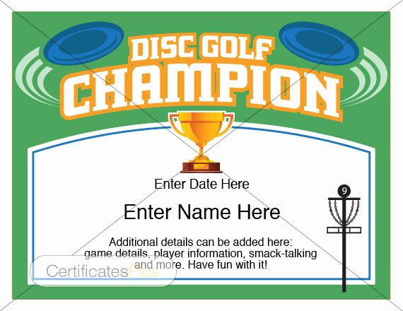 Free Hole In One Certificate Template Elegant Disc Golf Certificate Champion Award Disc Golf Award