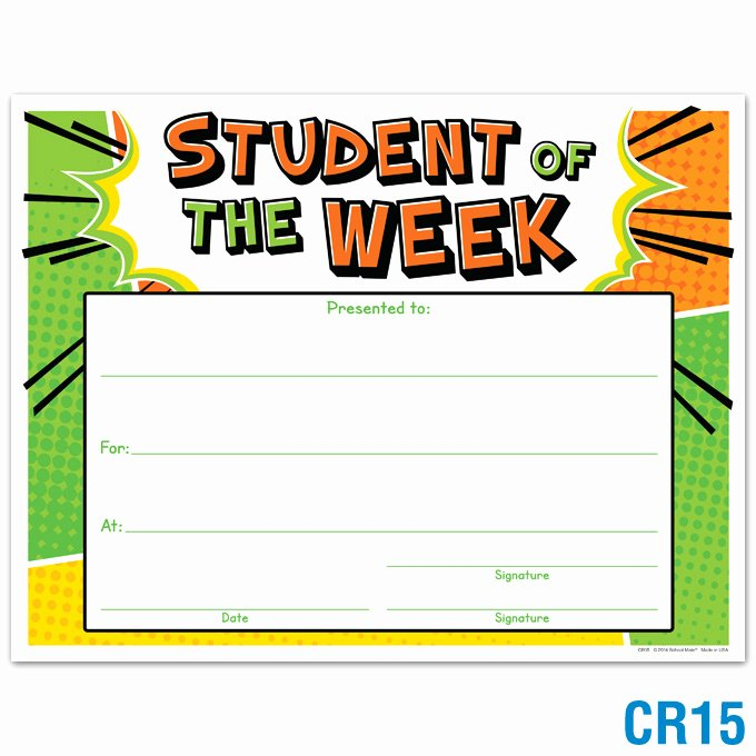 Free Hole In One Certificate Template Inspirational Product Details Student Of the Week Award