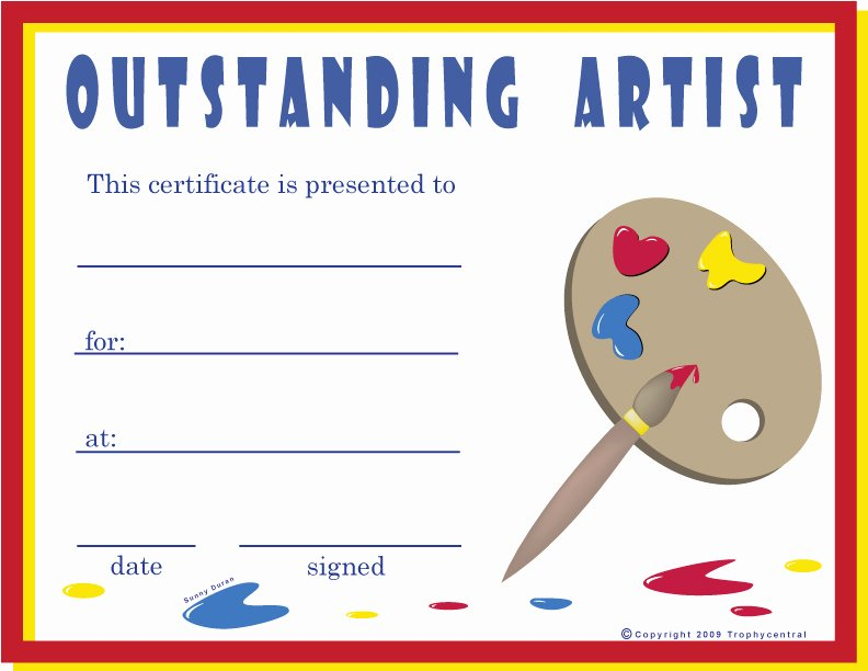 Free Hole In One Certificate Template Lovely Free Art Certificates Certificate Free Art