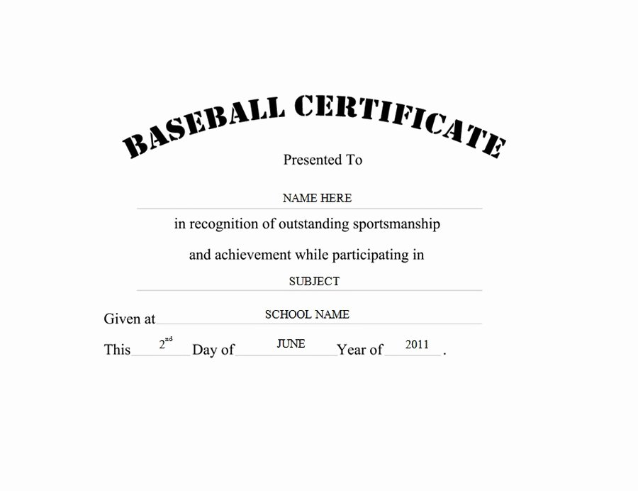 Free Hole In One Certificate Template Luxury Baseball Certificate Free Templates Clip Art & Wording