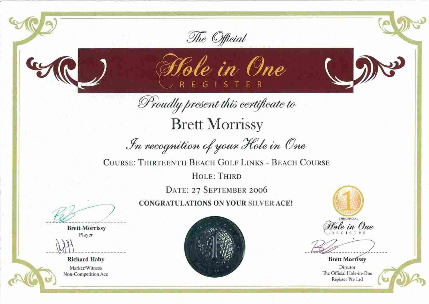 Free Hole In One Certificate Template Unique Hole In E Certificate Template Free