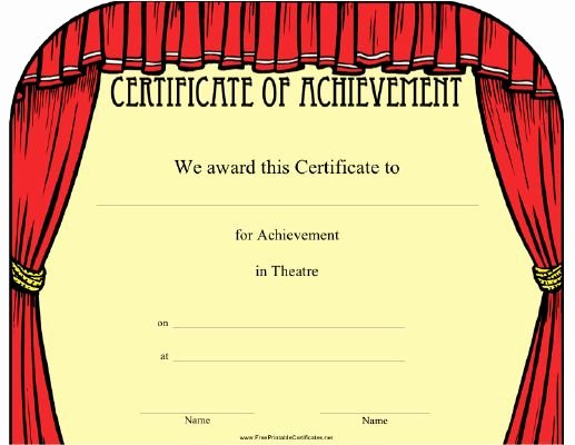Free Hole In One Certificate Template Unique This theatre Achievement Certificate Features A Frame Of