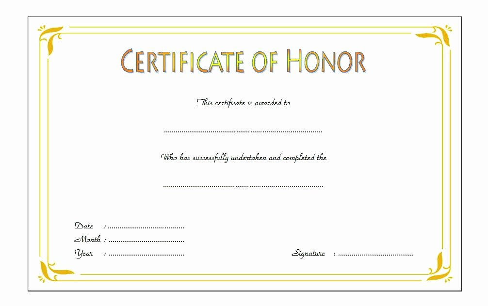 Free Honor Roll Certificate Awesome Certificate Of Honor