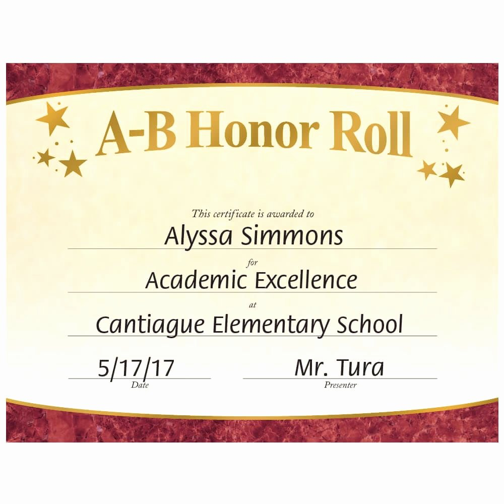 Free Honor Roll Certificate Elegant A B Honor Roll Gold Foil Stamped Certificates