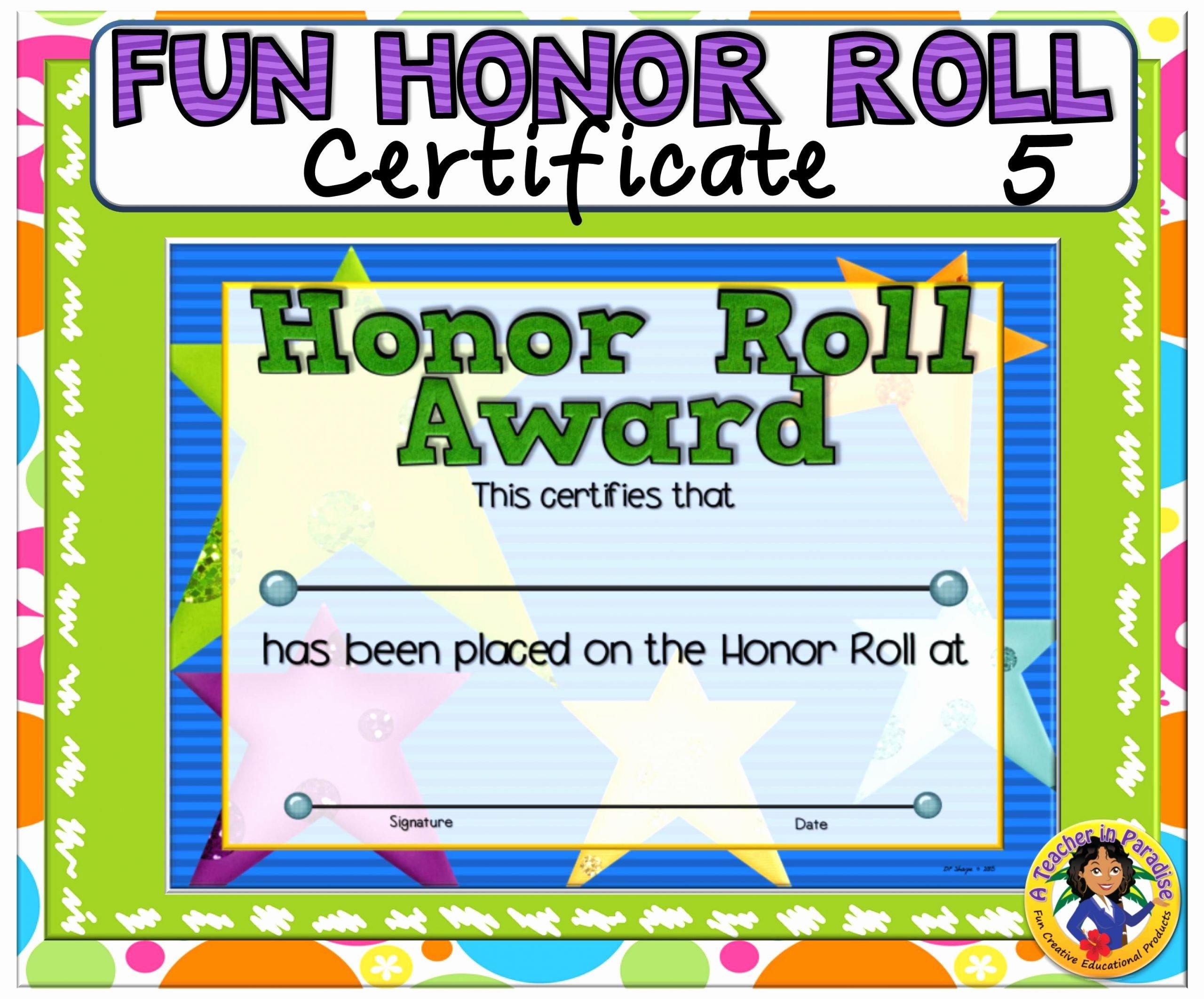 Free Honor Roll Certificate Fresh Certificate Fun Honor Roll 5