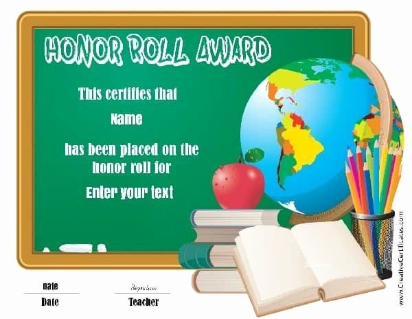 Free Honor Roll Certificate Inspirational Free Honor Roll Certificates Customize Line