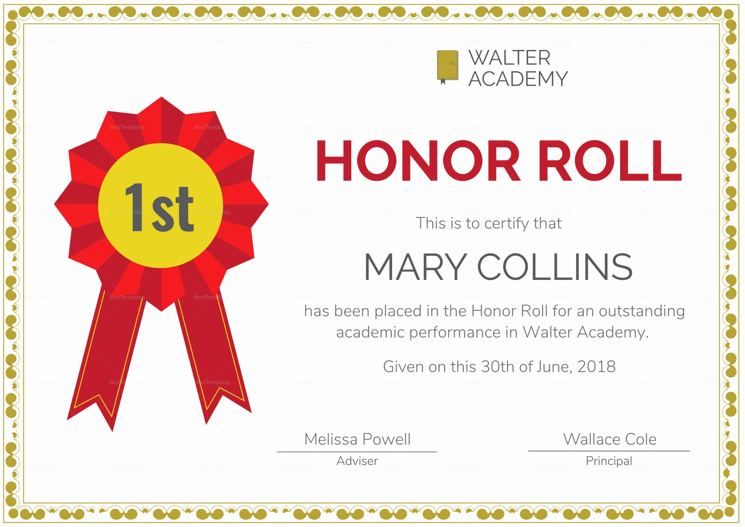 Free Honor Roll Certificate Templates Elegant Honor Roll Certificate Design Template In Psd Word