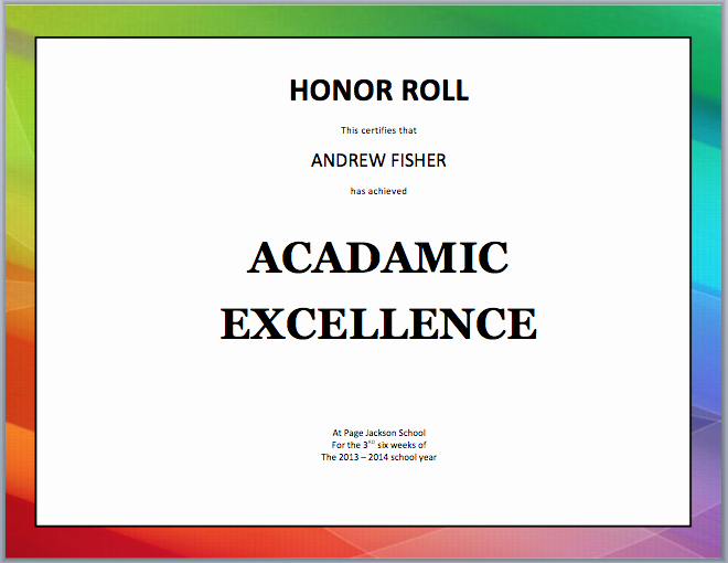 Free Honor Roll Certificate Templates Unique Honor Roll Certificate Template Template