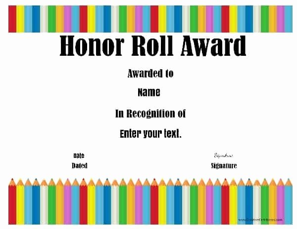 Free Honor Roll Certificate Unique Free Honor Roll Certificates Customize Line