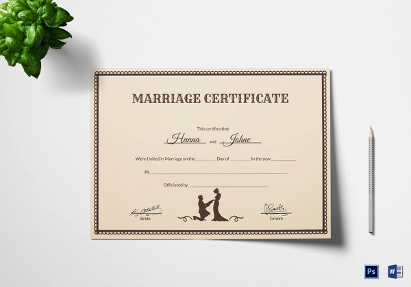 Free Marriage Certificate Download Best Of Wedding Certificate Template 22 Free Psd Ai Vector