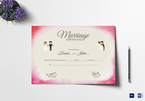 Free Marriage Certificate Download Elegant Marriage Certificate Template 12 Word Pdf Psd format
